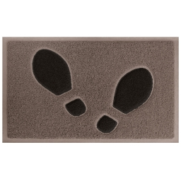 Tapis d'entree rectangle 45 x 75 cm pvc empreintes Taupe/Noir