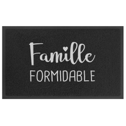 Tapis d'entree rectangle 45 x 75 cm pvc formidable Noir/gris