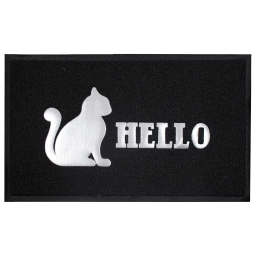 Tapis d'entree rectangle 45 x 75 cm pvc hello cat Noir/Gris