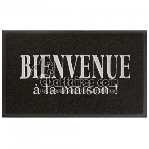Tapis D Entree Rectangle 45 X 75 Cm Pvc Maison Noir Gris Cdaffaires