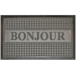 Tapis d'entree rectangle 45 x 75 cm relief pvc bonjour Gris