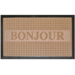 Tapis d'entree rectangle 45 x 75 cm relief pvc bonjour Naturel