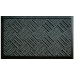 Tapis d'entree rectangle 45 x 75 cm relief pvc carreaux Gris