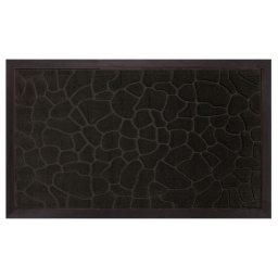 Tapis d'entree rectangle 45 x 75 cm relief pvc galets Noir