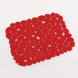 Tapis d'evier confectionne 30 x 26 cm pvc uni protect Rouge