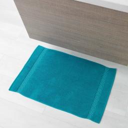 Tapis de bain 50 x 85 cm eponge unie jacquard adelie Bleu