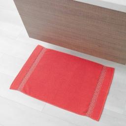 Tapis de bain 50 x 85 cm eponge unie jacquard adelie Corail
