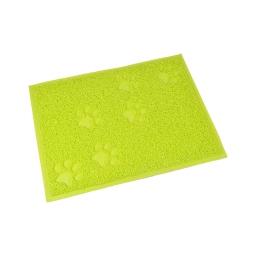 tapis de litiere pvc rectangle pour chat l30*40cm vert impressions pattes
