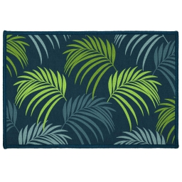 tapis deco rectangle 40 x 60 cm imprime blue vegetal