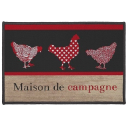 tapis deco rectangle 40 x 60 cm imprime maison de campagne