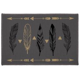 tapis deco rectangle 40 x 60 cm imprime plume chic