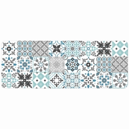 Tapis deco rectangle 45 x 120 cm mousse imprimee salou Bleu