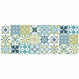 Tapis deco rectangle 45 x 120 cm mousse imprimee salou Vert