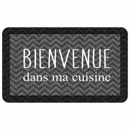 tapis deco rectangle 45 x 75 cm mousse imprimee kitchen black