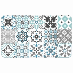 Tapis deco rectangle 45 x 75 cm mousse imprimee salou Bleu