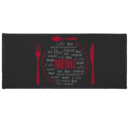 tapis deco rectangle 50 x 120 cm imprime menu
