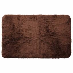 Tapis deco rectangle 50 x 80 cm imitation fourrure marmotte Choco