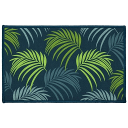 tapis deco rectangle 50 x 80 cm imprime blue vegetal