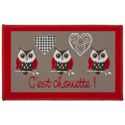 tapis deco rectangle 50 x 80 cm imprime c'est chouette