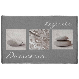 Tapis deco rectangle 50 x 80 cm imprime clarte Gris