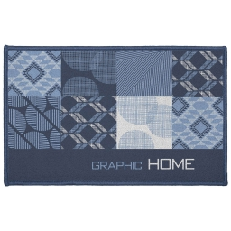Tapis deco rectangle 50 x 80 cm imprime dalea Bleu