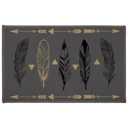 tapis deco rectangle 50 x 80 cm imprime plume chic