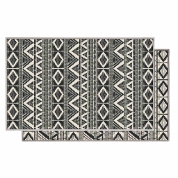 Tapis deco rectangle 50 x 80 cm tisse reversible bandana Blanc/noir