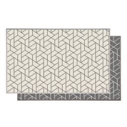Tapis deco rectangle 50 x 80 cm tisse reversible harvey Blanc/gris