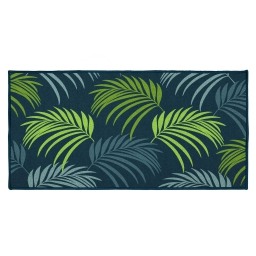tapis deco rectangle 57 x 115 cm imprime blue vegetal