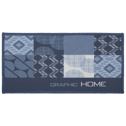 Tapis deco rectangle 57 x 115 cm imprime dalea Bleu