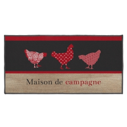 tapis deco rectangle 57 x 115 cm imprime maison de campagne