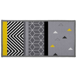 Tapis deco rectangle 57 x 115 cm imprime yellow mix Gris