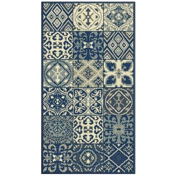 Tapis deco rectangle 60 x 110 cm tisse vigo Bleu