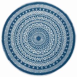 Tapis deco rond (0) 150 cm polypropylene imprime mandaly Bleu