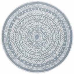 Tapis deco rond (0) 150 cm polypropylene imprime mandaly Gris