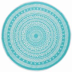 Tapis deco rond (0) 150 cm polypropylene imprime mandaly Turquoise