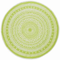 Tapis deco rond (0) 150 cm polypropylene imprime mandaly Vert