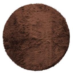 Tapis deco rond (0) 90 cm imitation fourrure marmotte Choco