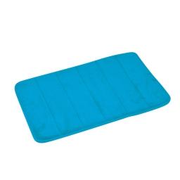 Tapis memoire de forme 40 x 60 cm microfibre unie vitamine Bleu ocean