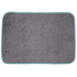 Tapis rectangle 120 x 170 cm velours uni kendo Taupe/Turquoise