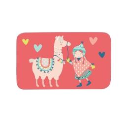 tapis rectangle 45 x 75 cm velours imprime happy lama