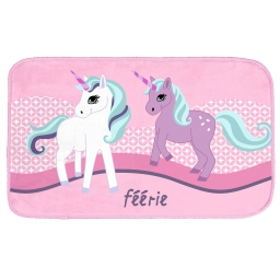 tapis rectangle 45 x 75 cm velours imprime licorne
