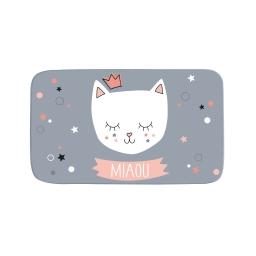 tapis rectangle 45 x 75 cm velours imprime mimi chat