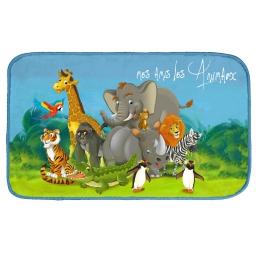 tapis rectangle 45 x 75 cm velours imprime zoo