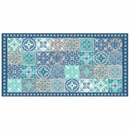Tapis rectangle 50 x 100 cm vinyle alicante Bleu