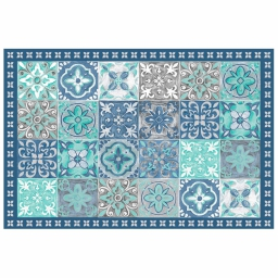 Tapis rectangle 50 x 75 cm vinyle alicante Bleu