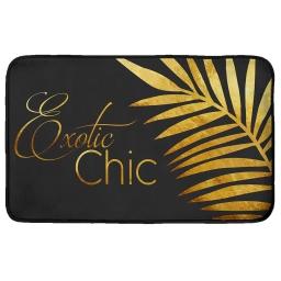 Tapis rectangle 50 x 80 cm velours imprime gold leaf Or