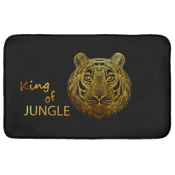Tapis rectangle 50 x 80 cm velours imprime king of jungle Or