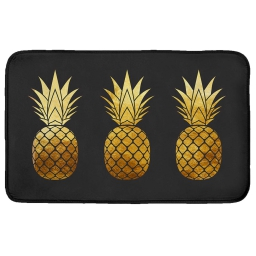 Tapis rectangle 50 x 80 cm velours imprime trio ananas Or