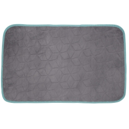 Tapis rectangle 50 x 80 cm velours uni kendo Taupe/Turquoise